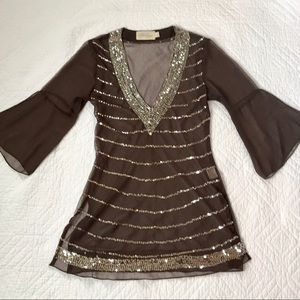50ab6898046 Sheer Brown Tunic with Silver Sparkly Sequins-S